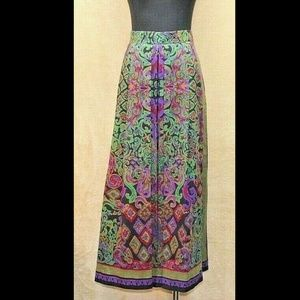 VTG Geiger 100% Wool Pleated Lined Skirt Floral